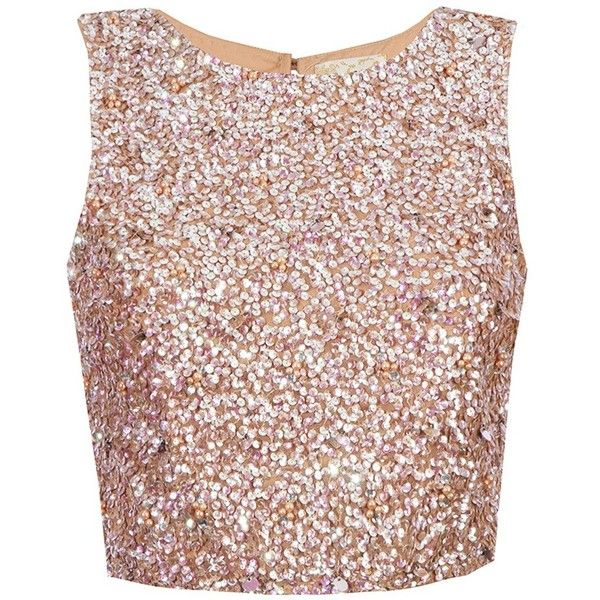 f5ec4338e3e834 Lace Beads Picasso Nude Sequin Top (235 PEN) ❤ liked on Polyvore featuring  tops