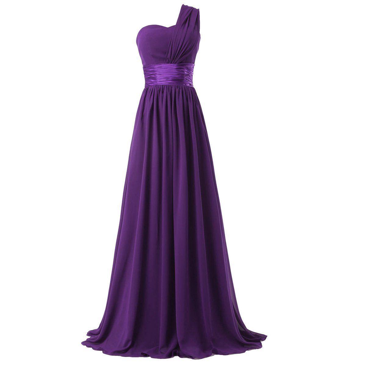 Oman Women\'s Chiffon One Shoulder Bridesmaids Dresses Small Purple ...