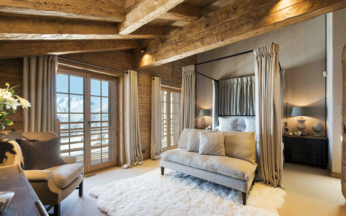Download wallpapers bedroom, Chalet Interior, Wood in the