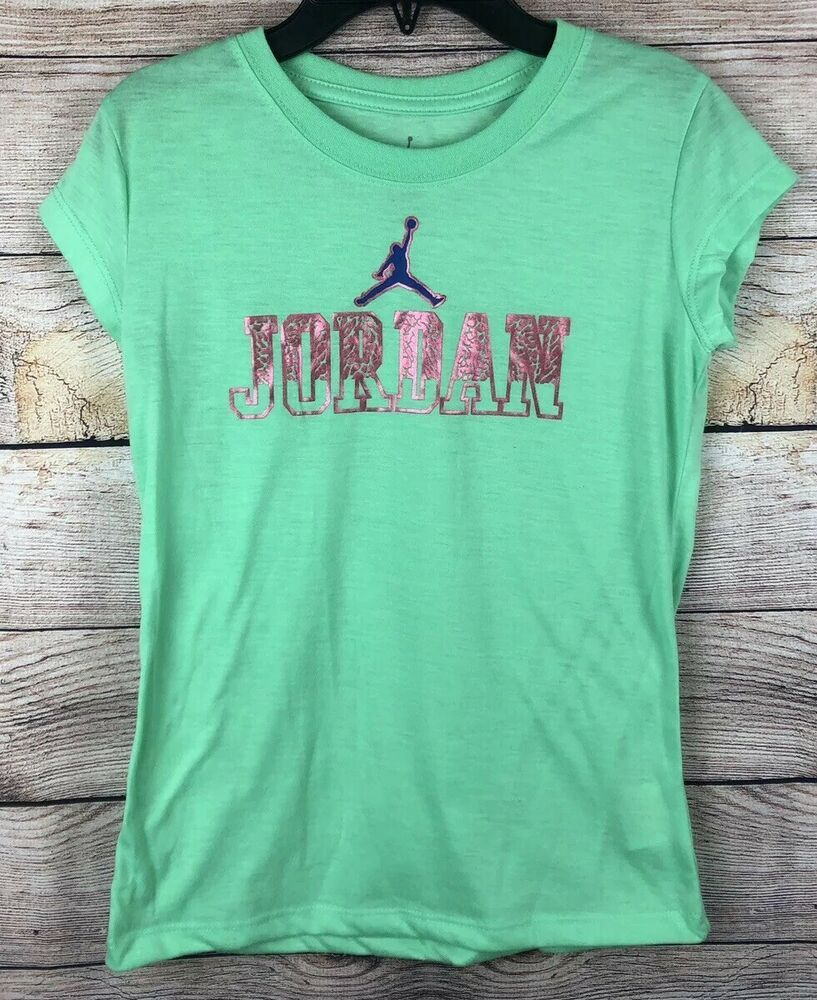 23704e8cb9e Nike Air Jordan Short Sleeve Shirt Girls Size L Large - Green | eBay