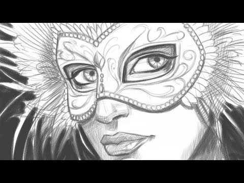 how to draw a face with a mardi gras mask part 1 of 2 youtube