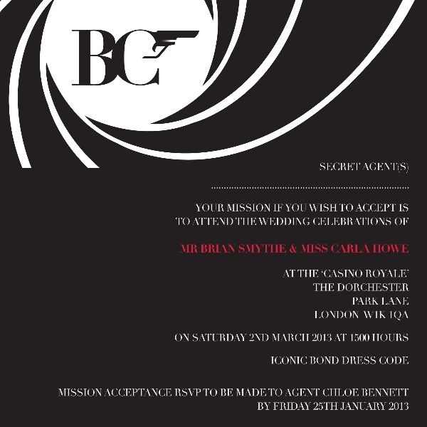 James Bond Theme Maybe for Bachelorette party It would go – James Bond Party Invitations