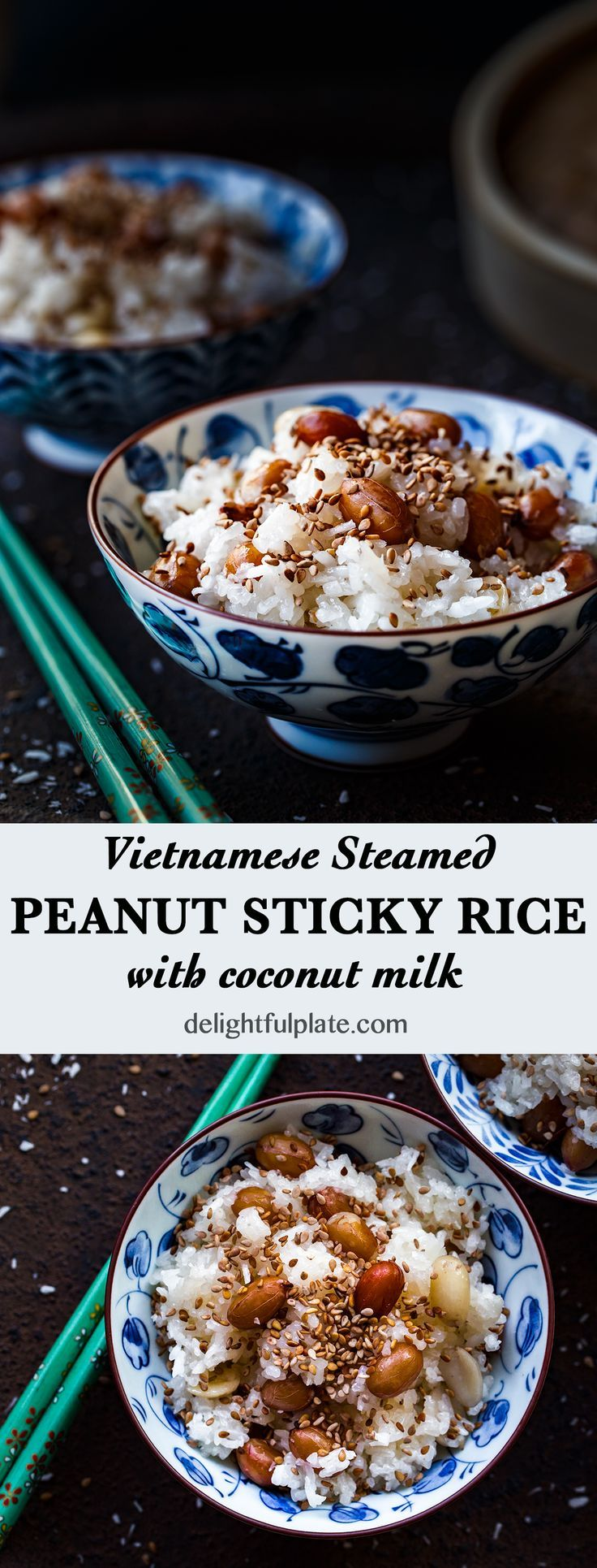 Steamed peanut sticky rice in coconut milk (Xoi lac dua ...