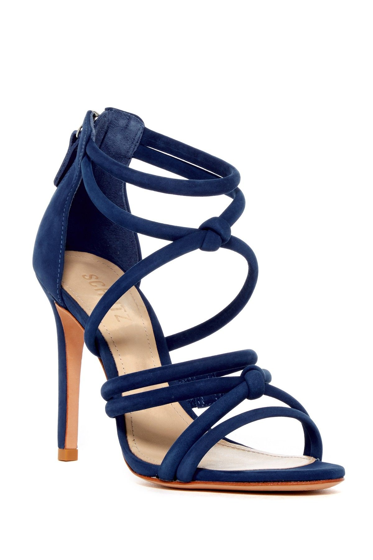 585641e7444 Navy   knotted! Strappy Schutz Mindy Heel Sandals