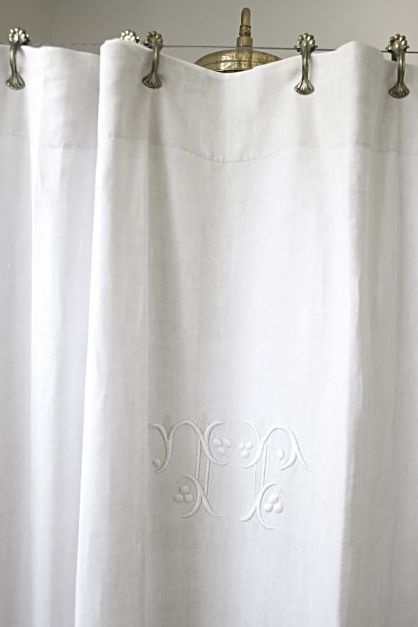 Gorgeous Vintage Monogrammed Shower Curtain Shower Curtain