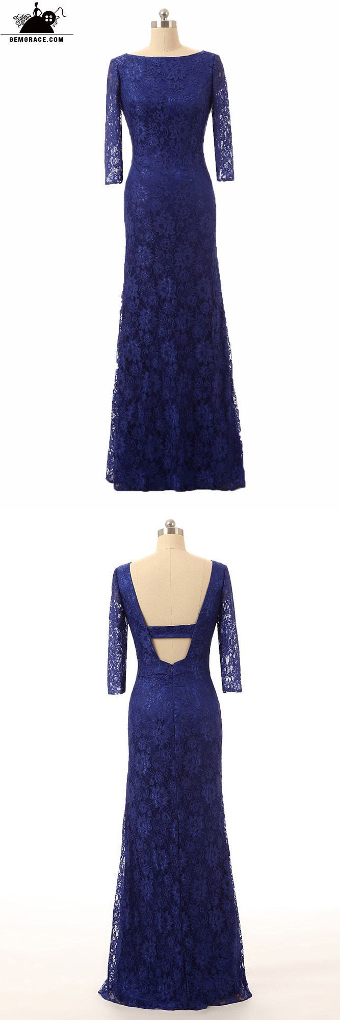 Formal royal blue lace long evening mother of the bride dress with
