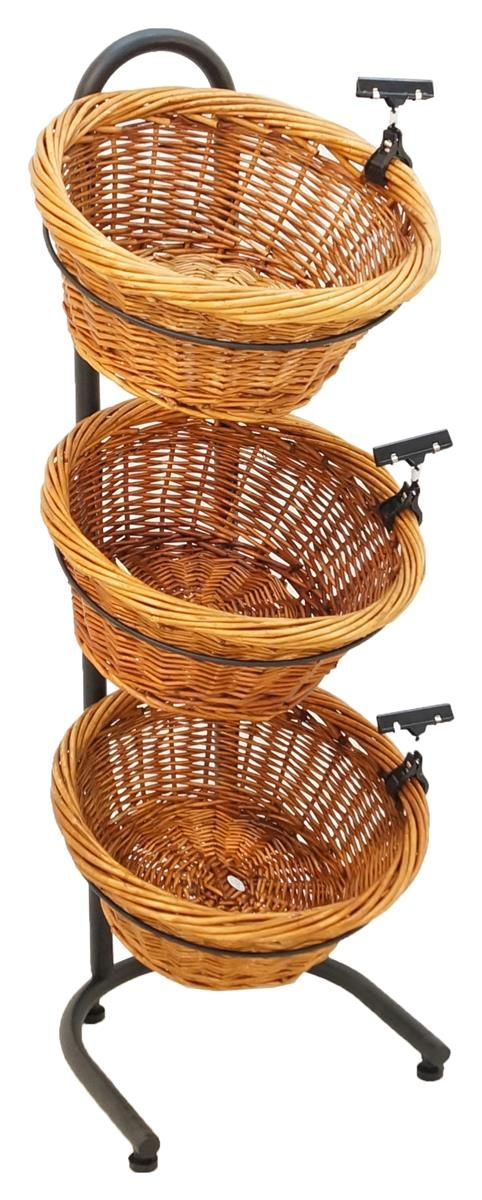 3 Tier Basket Stand, Sign Clips, Wicker   Black