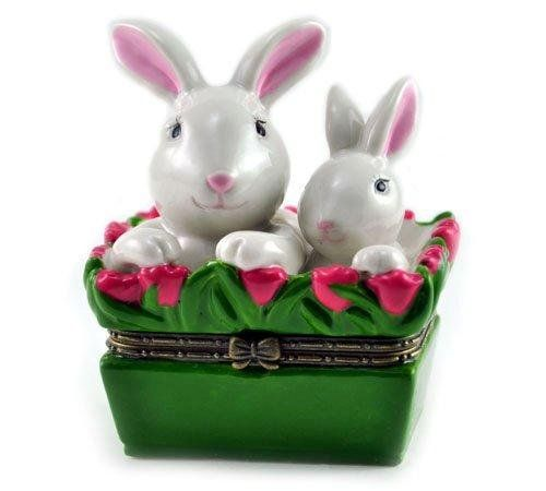 Easter bunny mom and baby rabbit basket porcelain hinged trinket easter bunny mom and baby rabbit basket porcelain hinged trinket box art gifts http negle Gallery