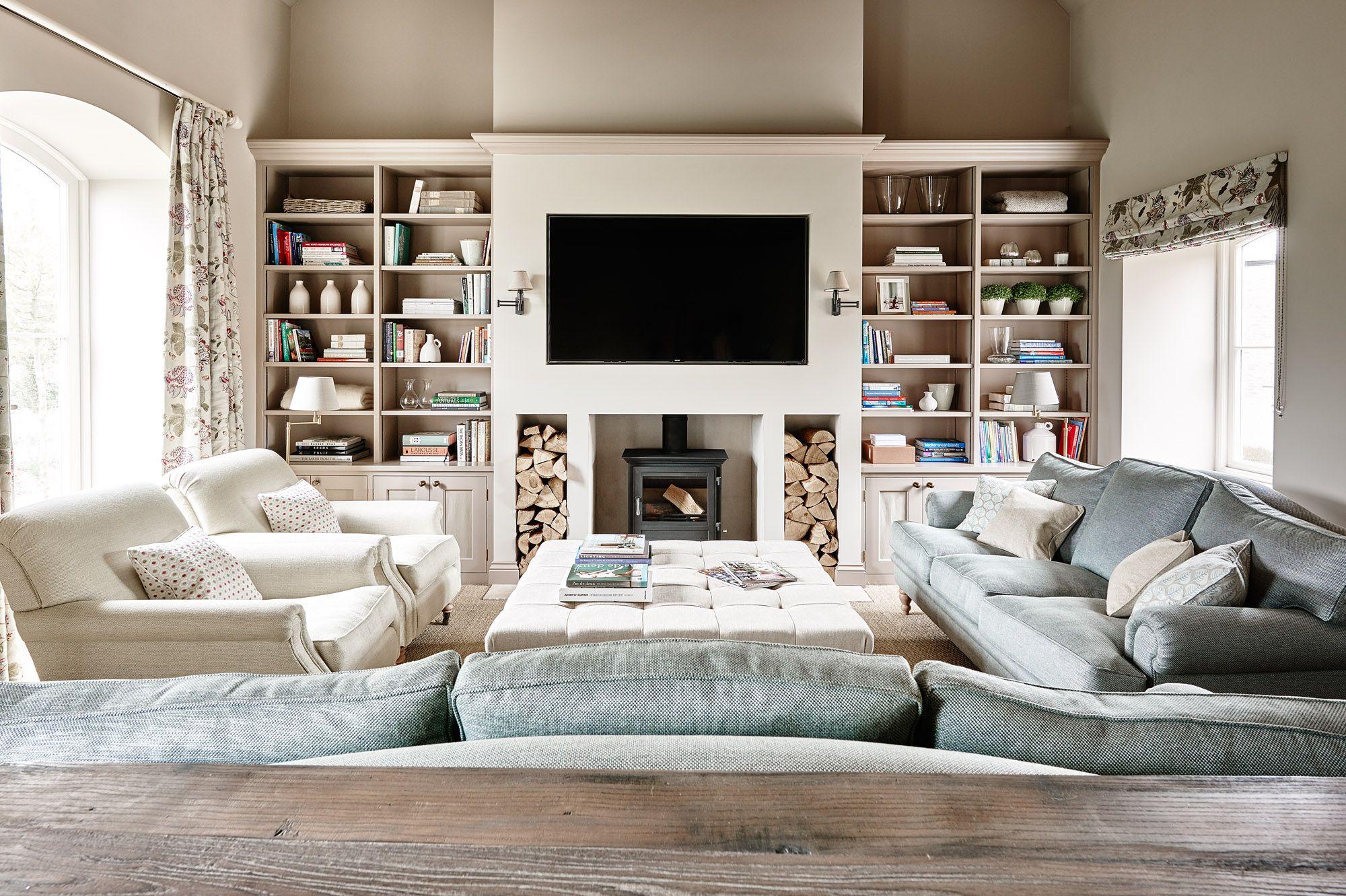 Wood Stove Built Into Fireplace Log Burner Living Room Farm