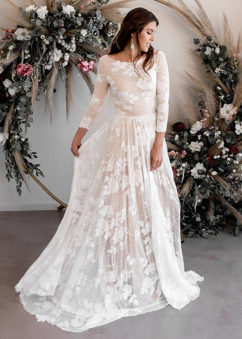 Best Places To Buy A Wedding Dress Online Dress For The Wedding In 2020 Indie Wedding Dress Wedding Dress Low Back Wedding Dress Long Sleeve