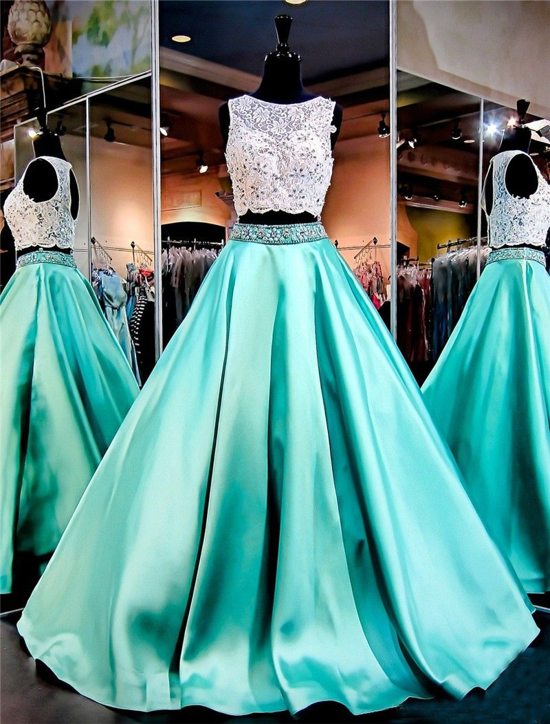 Ball Gown Sleeveless Open Back Mint Green Satin Lace Two Piece Prom Dress Mint Green Prom Dress Top Prom Dresses Piece Prom Dress [ 1052 x 800 Pixel ]