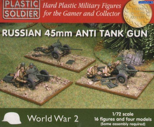 Pre-Built Model Artillery - Plastic Soldier 172 WWII Russian 45mm Anti Tank Guns WW2G2001 *** Learn more by visiting the image link.