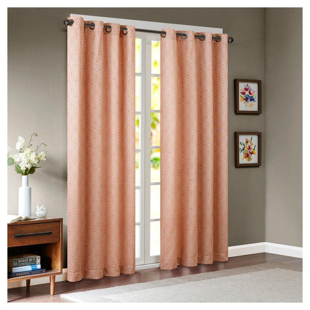 Eyebrow window coverings  teigan diamond jacquard window curtain panel orange