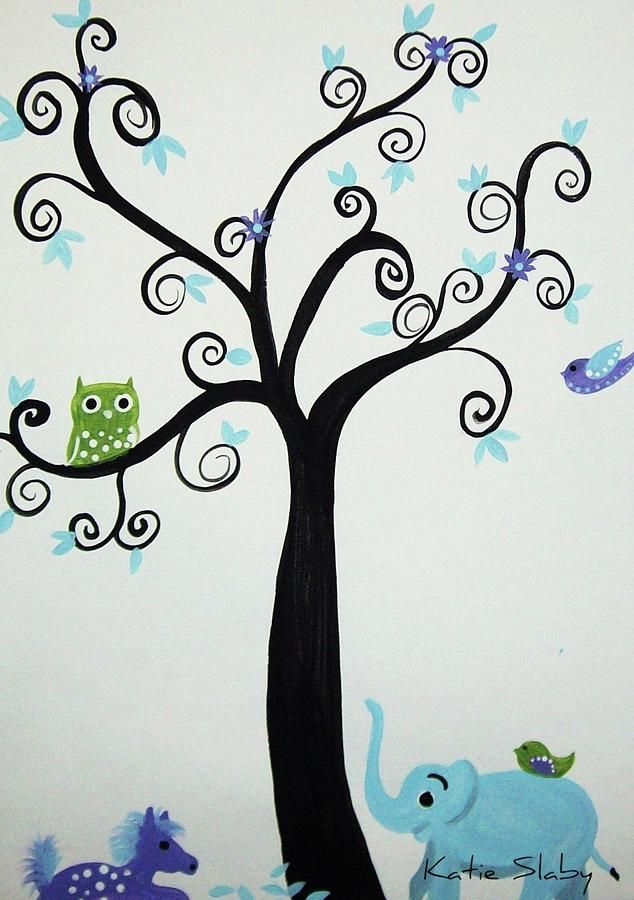 Swirly Painting Designs | Swirly Curly Tree Painting By Katie Slaby    Swirly Curly Tree Fine