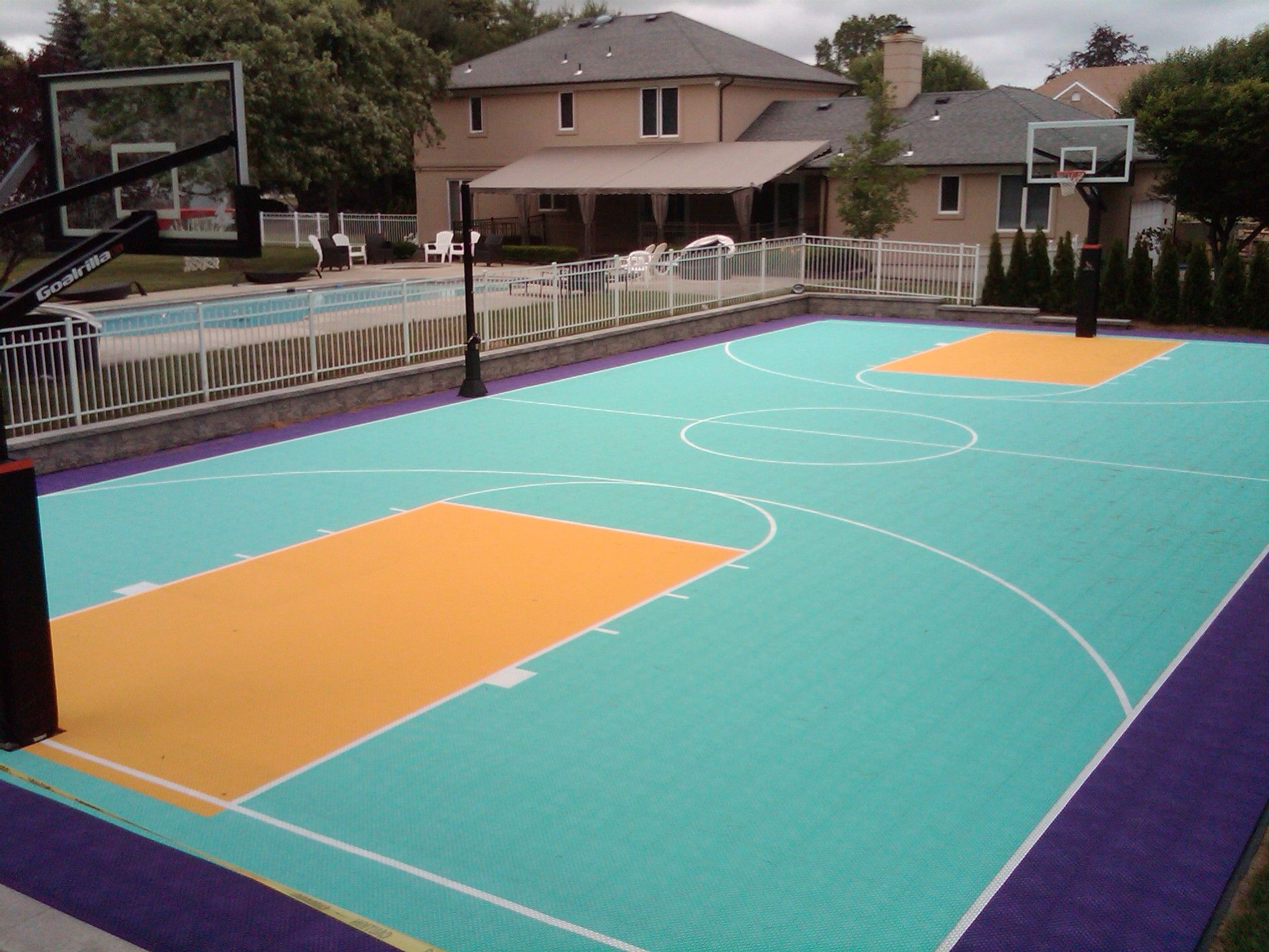 Full Basketball Court Along Side A Pool In Nj Basketball Court Backyard Backyard Basketball Basketball Court