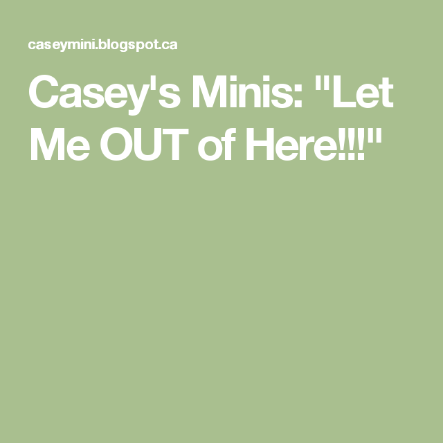 """Casey's Minis: """"Let Me OUT of Here!!!"""""""