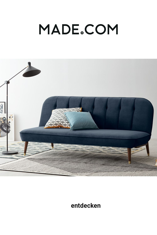Made Schlafsofa Blau In 2020 Sofa Bed Sofa Blue Velvet