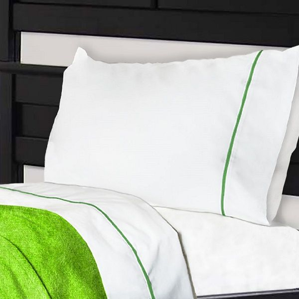 Cotton Polyester Bunk Bed Sheets With Elasticized Notuck Top Sheet Design White Lime Green Trim Easy For Any