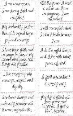 Free Printable Courage Affirmation Cards Affirmation Cards Affirmations Positive Affirmations