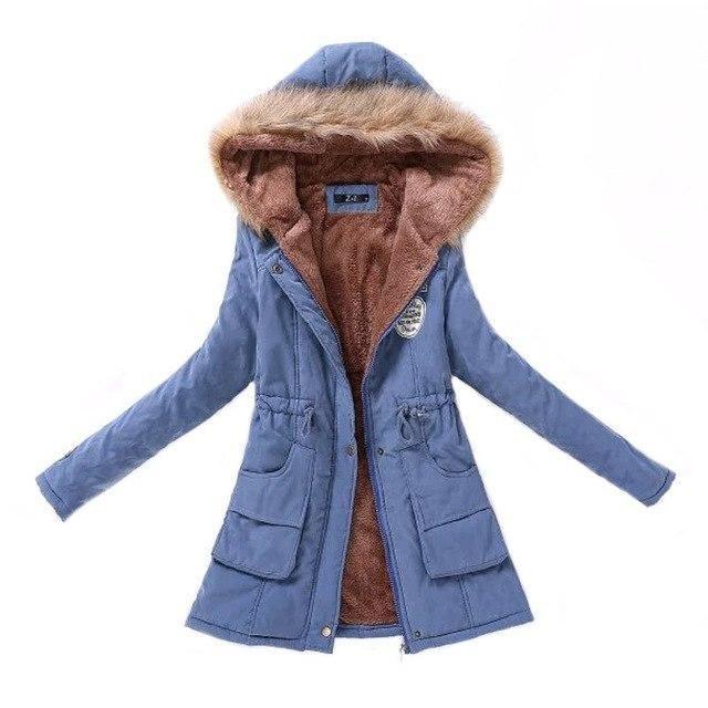 906317d79a29a 2018 women winter thicken warm coat female autumn hooded cotton fur plus  size basic jacket outerwear slim long ladies chaqueta