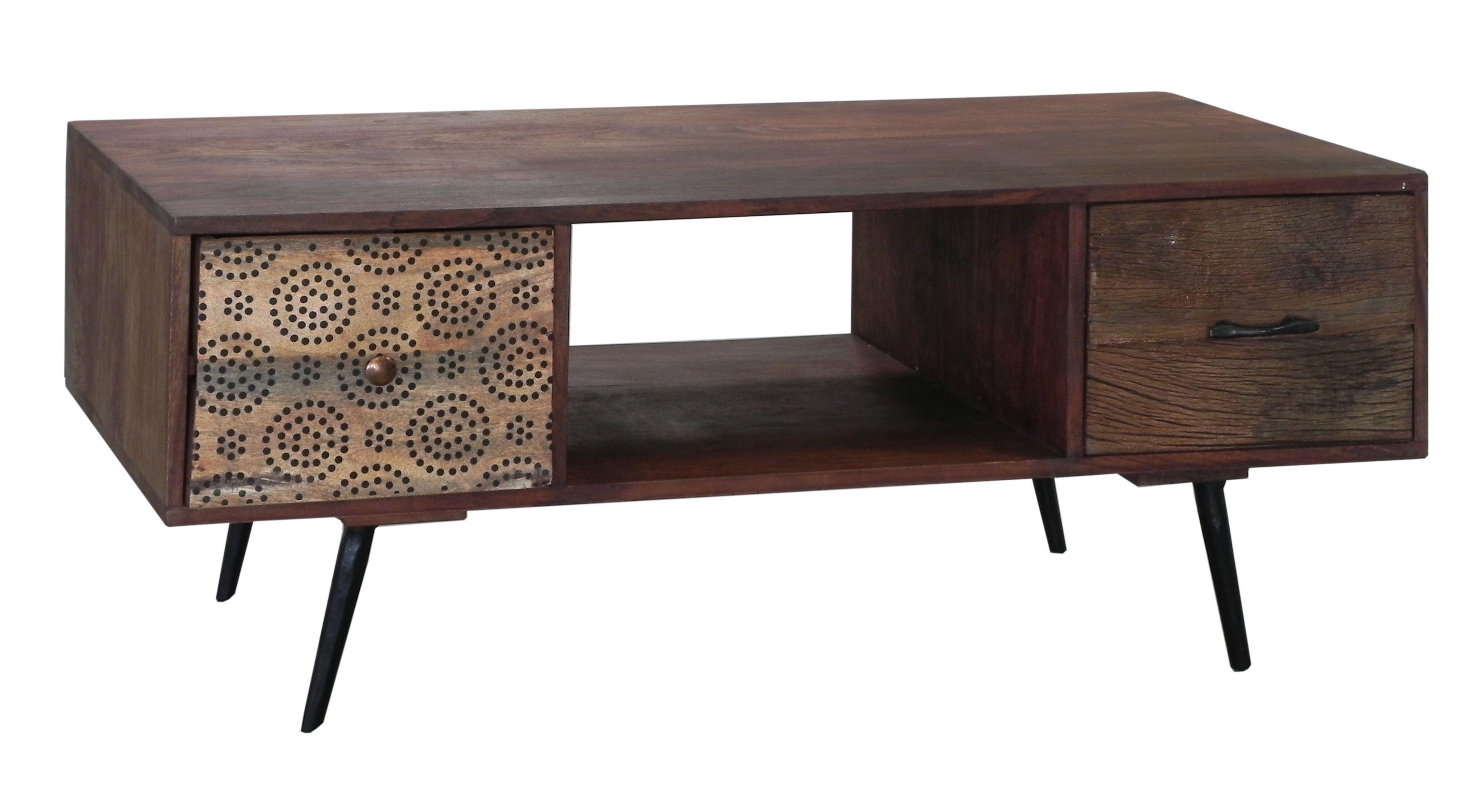 Meuble Tv Table Basse 2 Tiroirs Patchwork Et 1 Niche En Bois