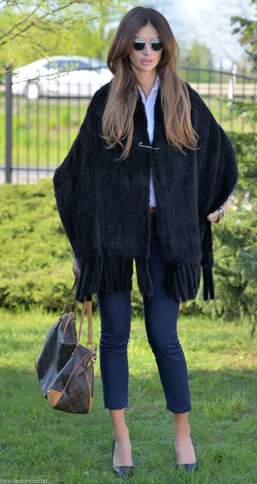 2016 Black Mink Fur Shawls Scarf Poncho Class Coat Jacket Sable Vest Chinchilla | eBay