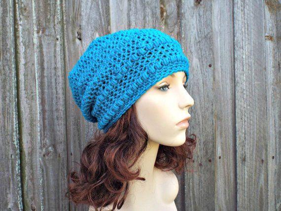 3d91b38b43fbf0 Breakwater Blue Crochet Hat Womens Hat - Penelope Puff Stitch Slouchy  Beanie Hat - Blue Beanie Blue Hat Merino Hat - READY TO SHIP