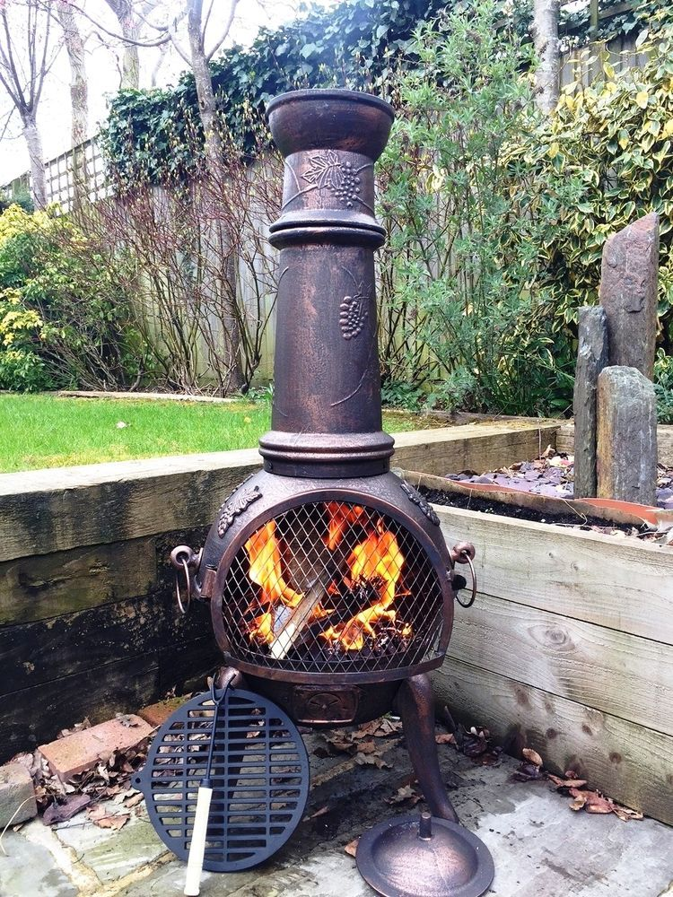 Cove Xl Thick Cast Iron Chiminea Chimenea Bbq Patio Heater Outdoor Stove Pit Chimnea Outdoor Outdoor Heating Chiminea Fire Pit
