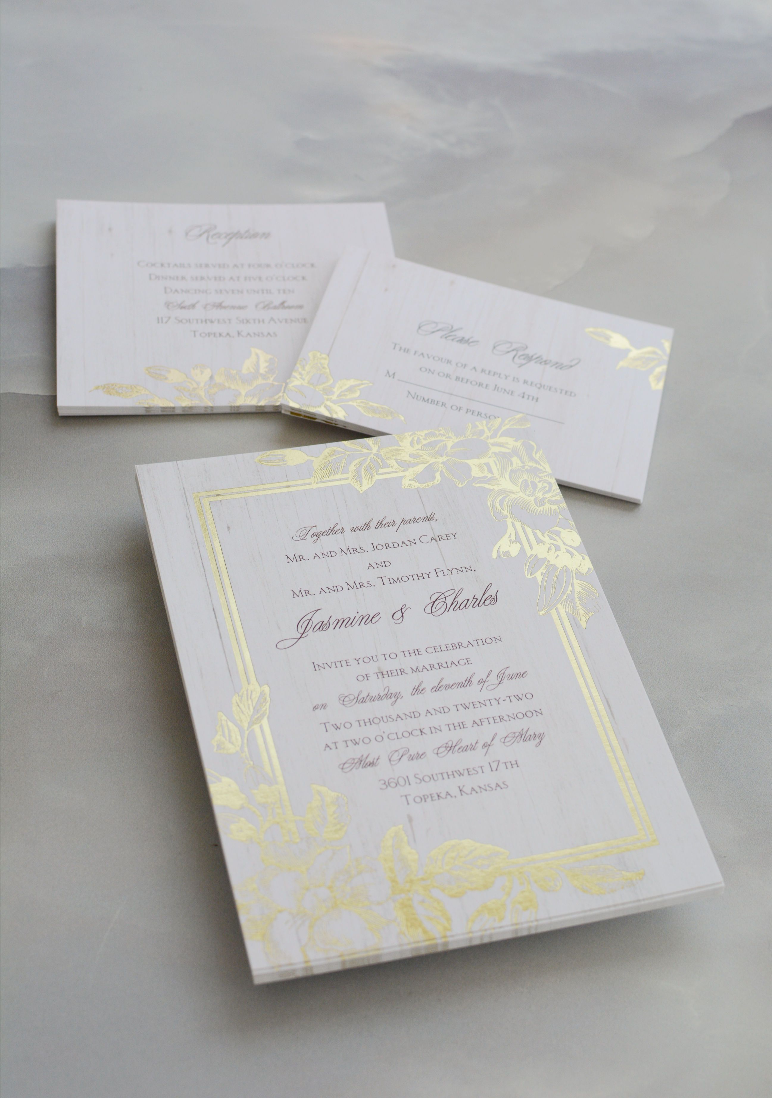 Gardenia Glow Foil Invitation In 2019 Rustic Glam