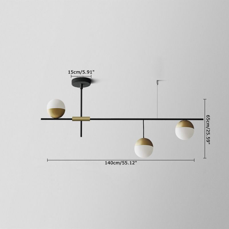 Mid Century Modern 3 Light Linear Ceiling Light In Black And Brass With Glass G Kitchen Island Lighting Modern Ceiling Lights Mid Century Modern Kitchen Island