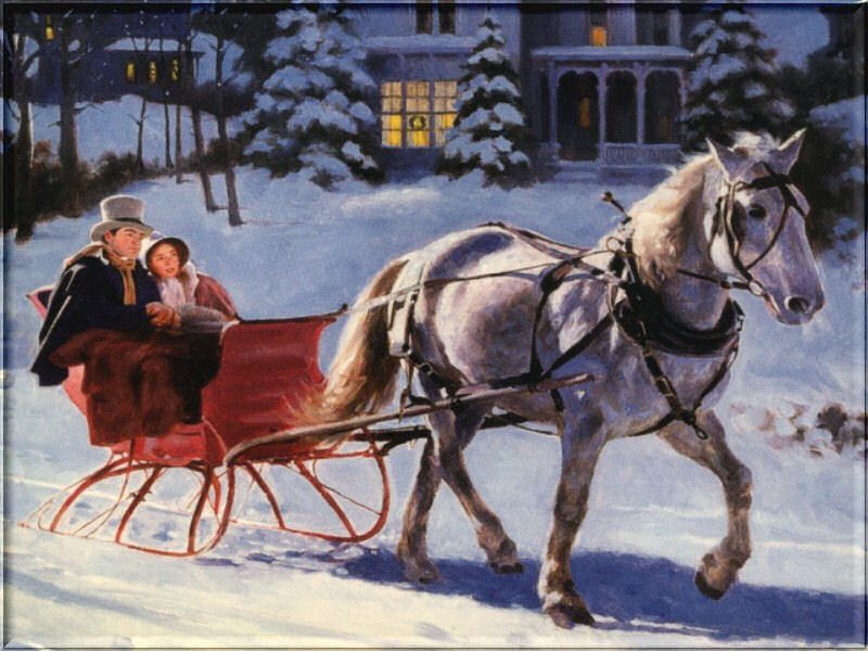 Riding In A One Horse Open Sleigh Yuletide Carols Being Sung