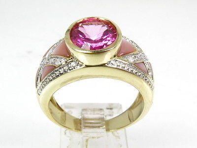 Stunning 10k Yel Gold Pink Tourmaline Mother of Pearl & Diamond Ladies Ring 4.1g