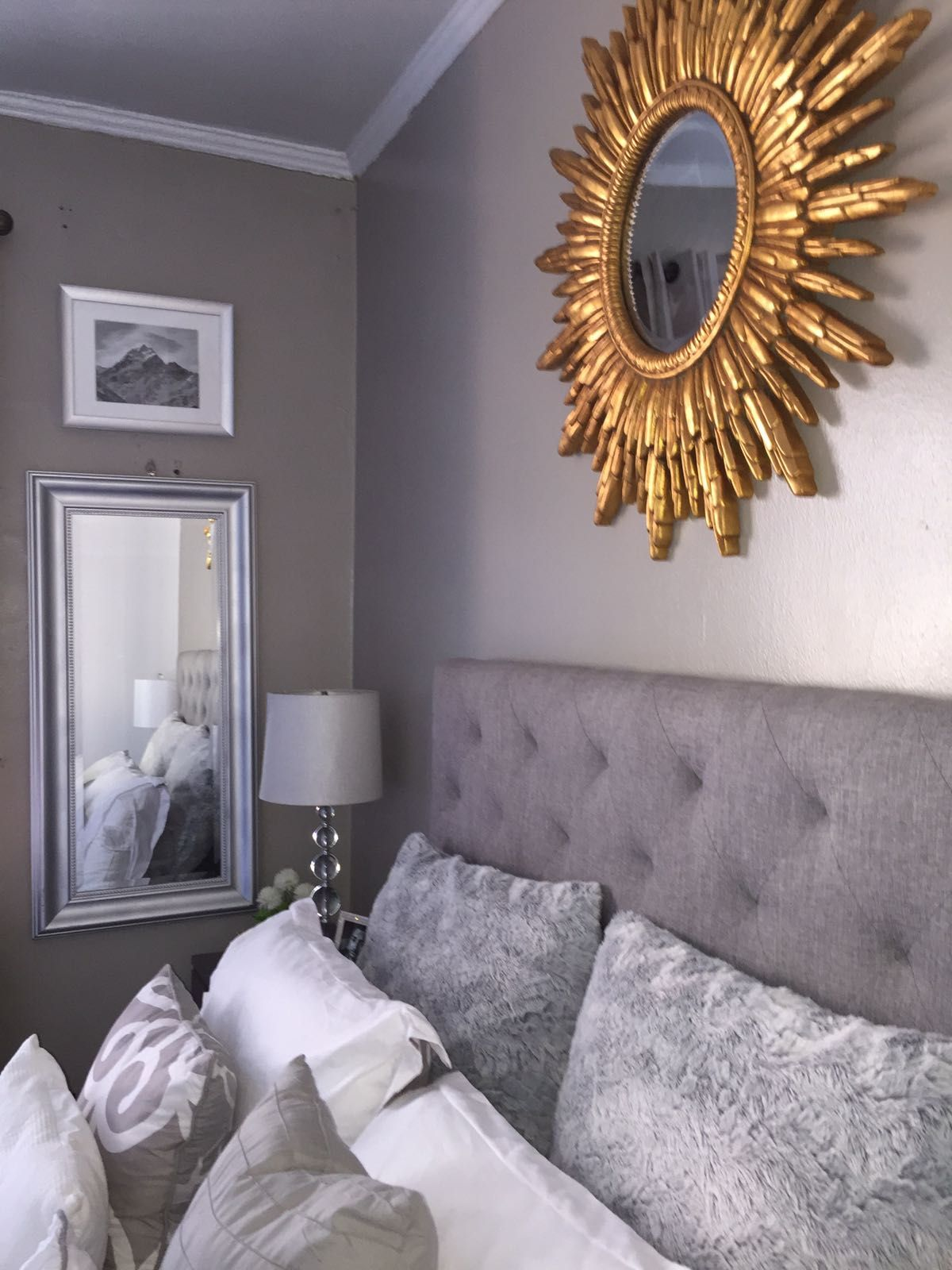 Grey and gold bedroom decoration decor headboard sunburst for Modern antique decor