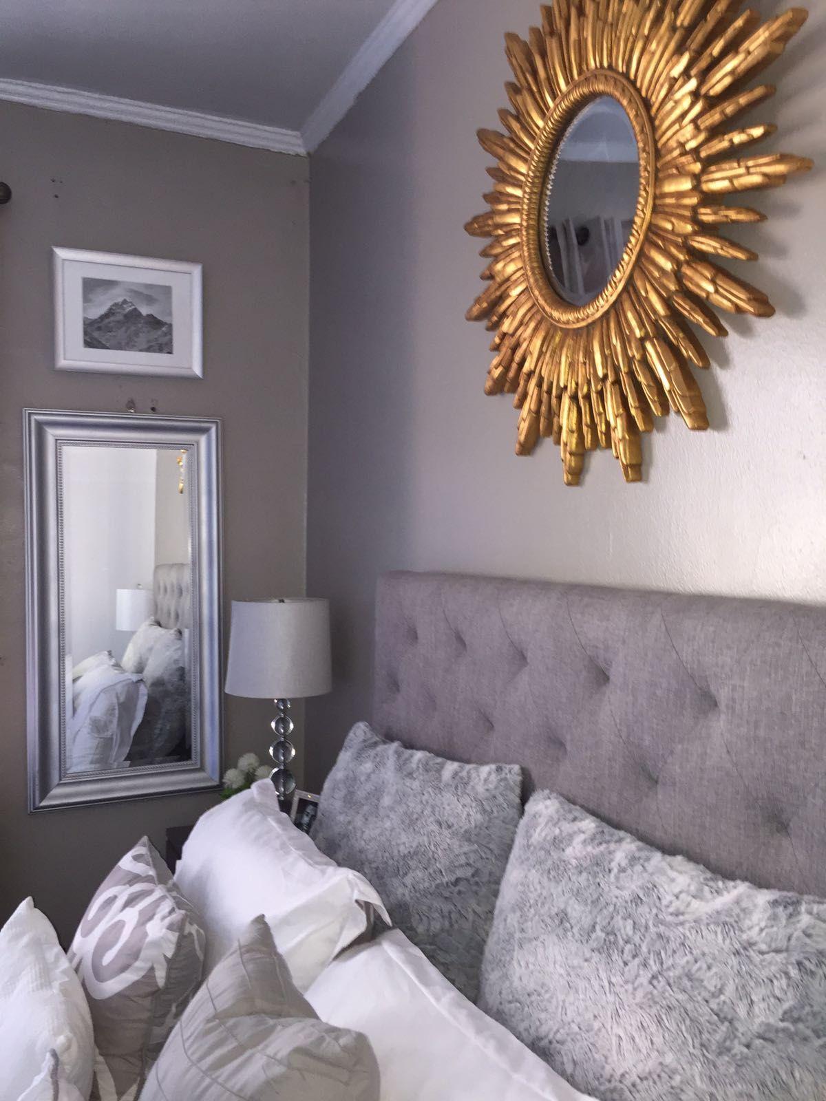 Grey And Gold Bedroom Decoration Decor Headboard Sunburst Mirror