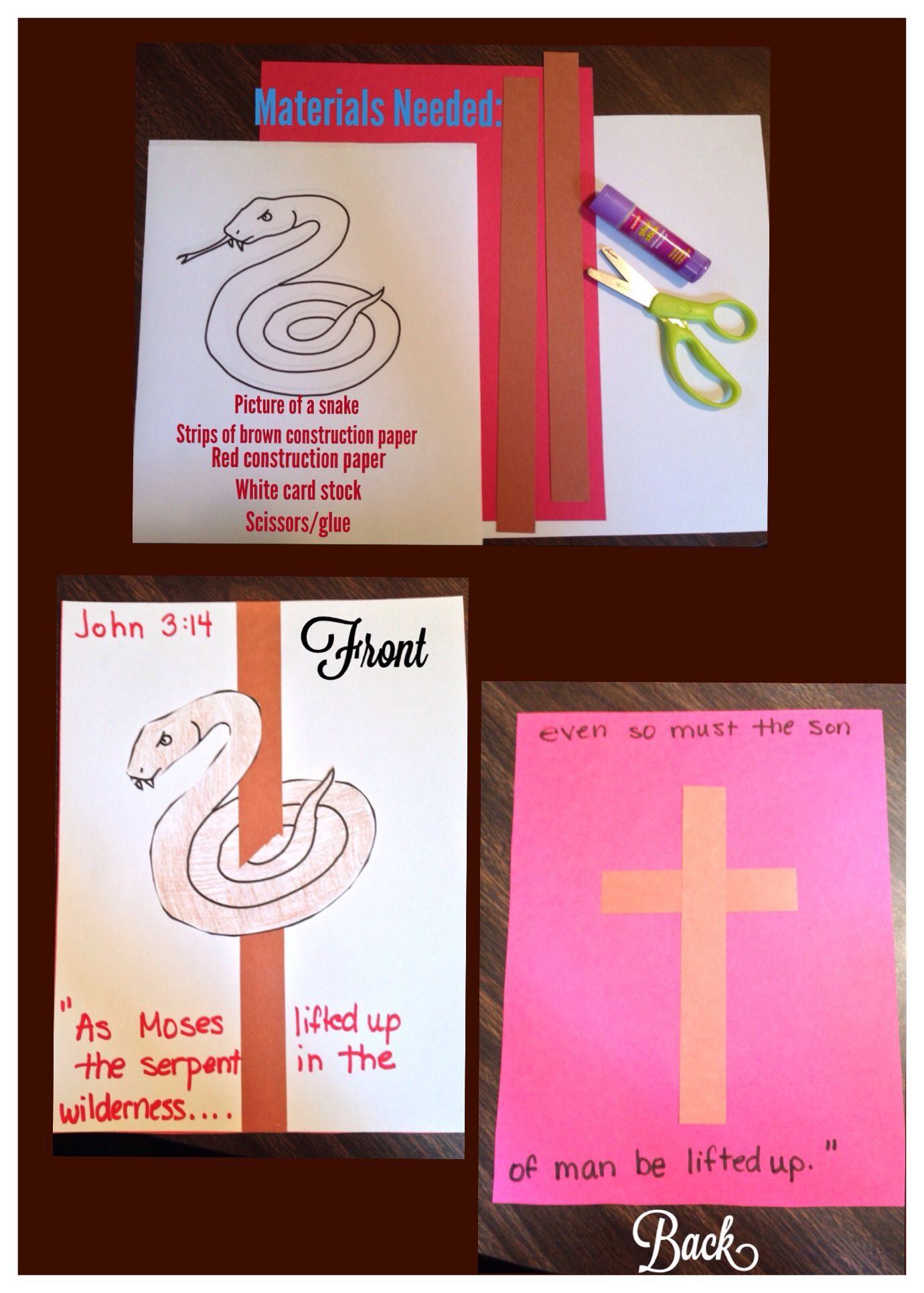 John 3 14 Craft Idea Moses And Bronze Snake Craft Sunday School