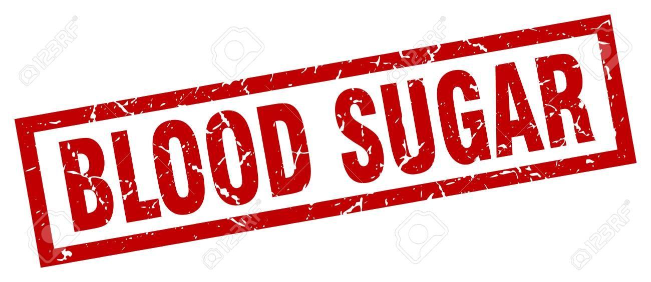 square grunge red blood sugar stamp ,