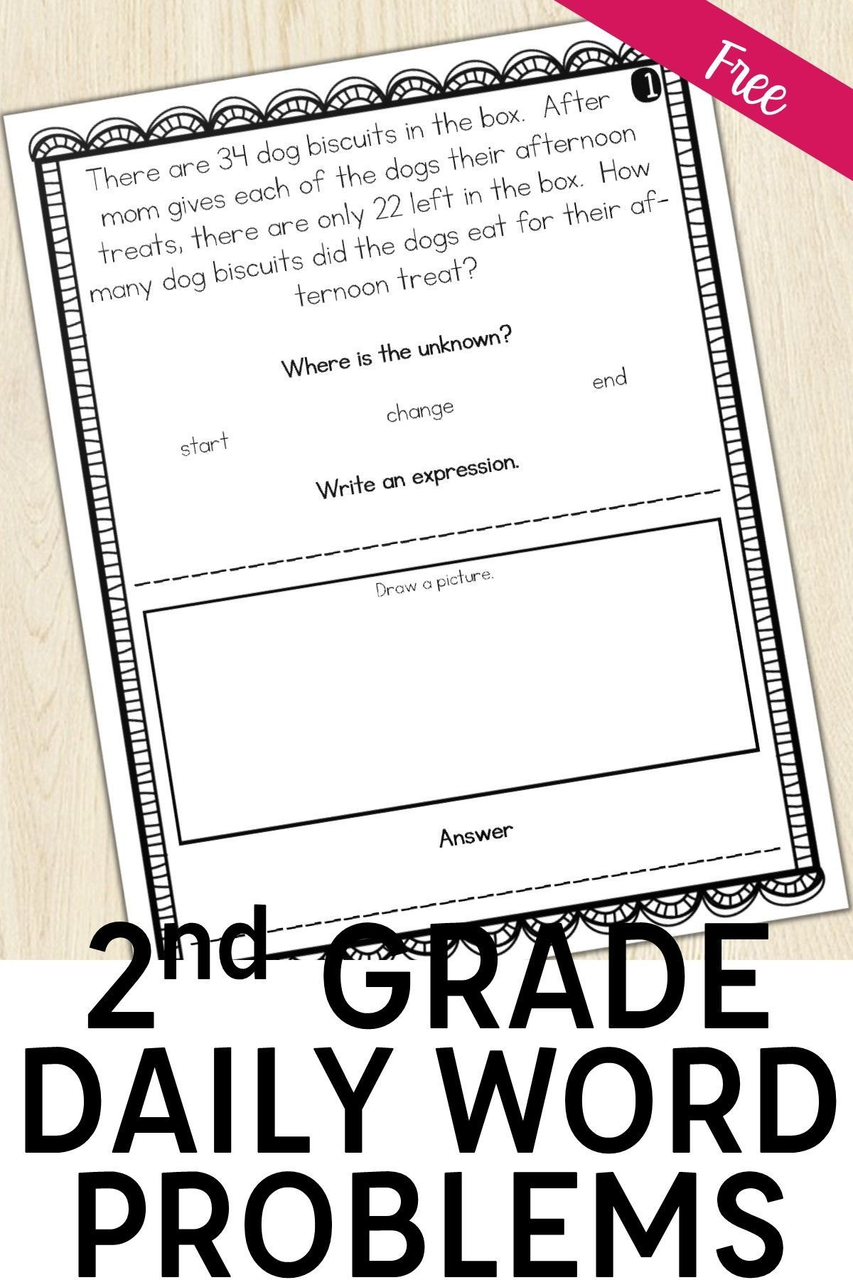 2nd Grade Word Problem Of The Day Story Problems Back To