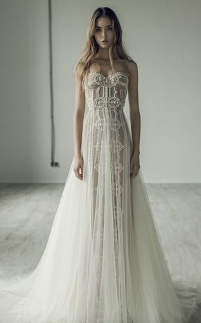 Unique Strapless Jeweled and Beaded Wedding Dress