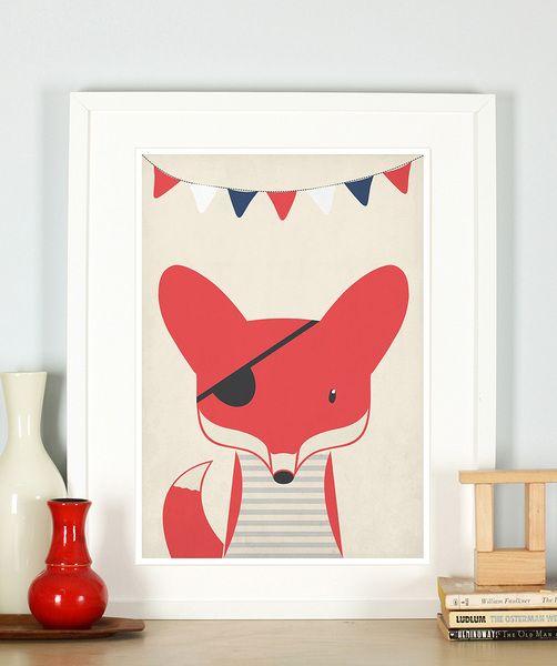 Pirat Fuchs Poster, Bild für Kinderzimmer, A3 | Retro posters, Foxes ...