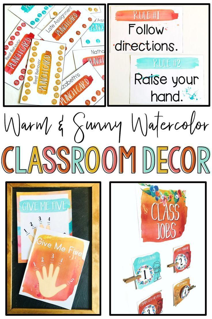 Warm & Sunny Watercolor Classroom Theme: Inspiration & Decor