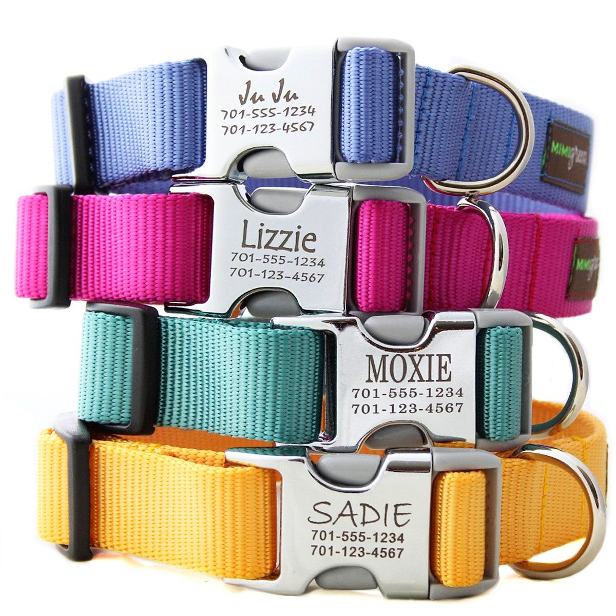 Personalized Dog Collars.. no jingling tag!