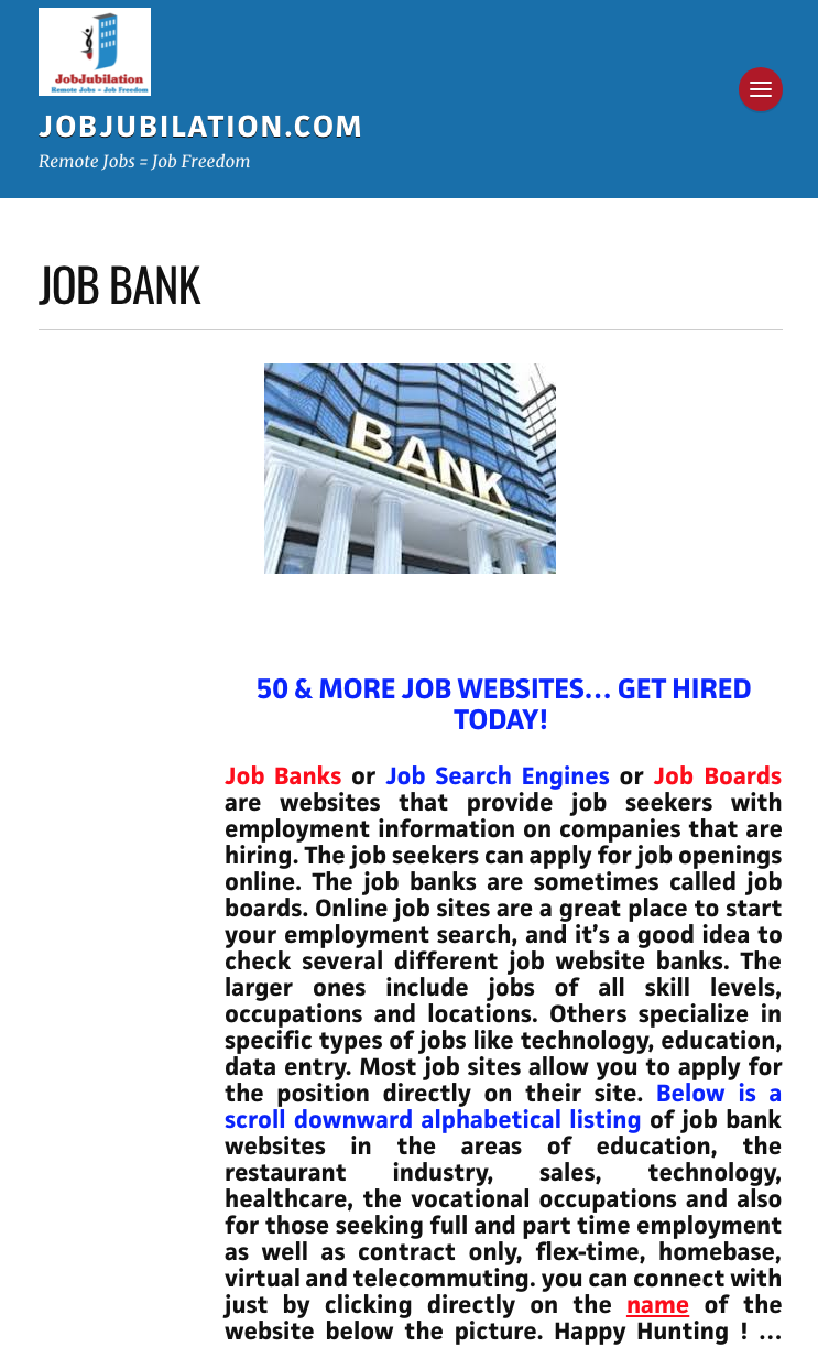 Job Bank Remote Jobs Job Seeker Job Opening
