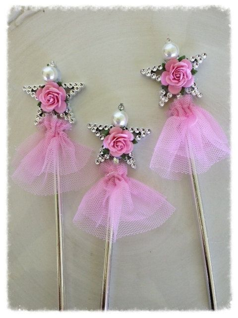 shabby chic magic wands for princess birthday party set of six birthday decoration for birthday. Black Bedroom Furniture Sets. Home Design Ideas