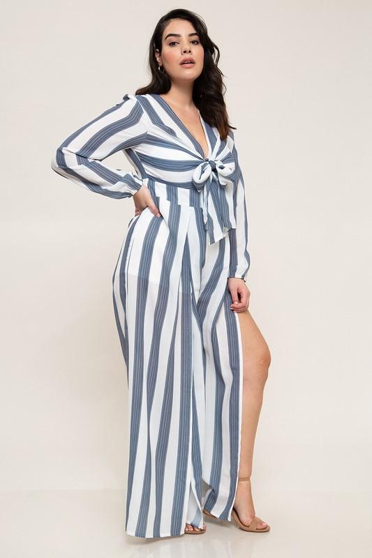 0788cb8b6f40 Navy Blue Stripe Tie Front Plus Size Jumpsuit
