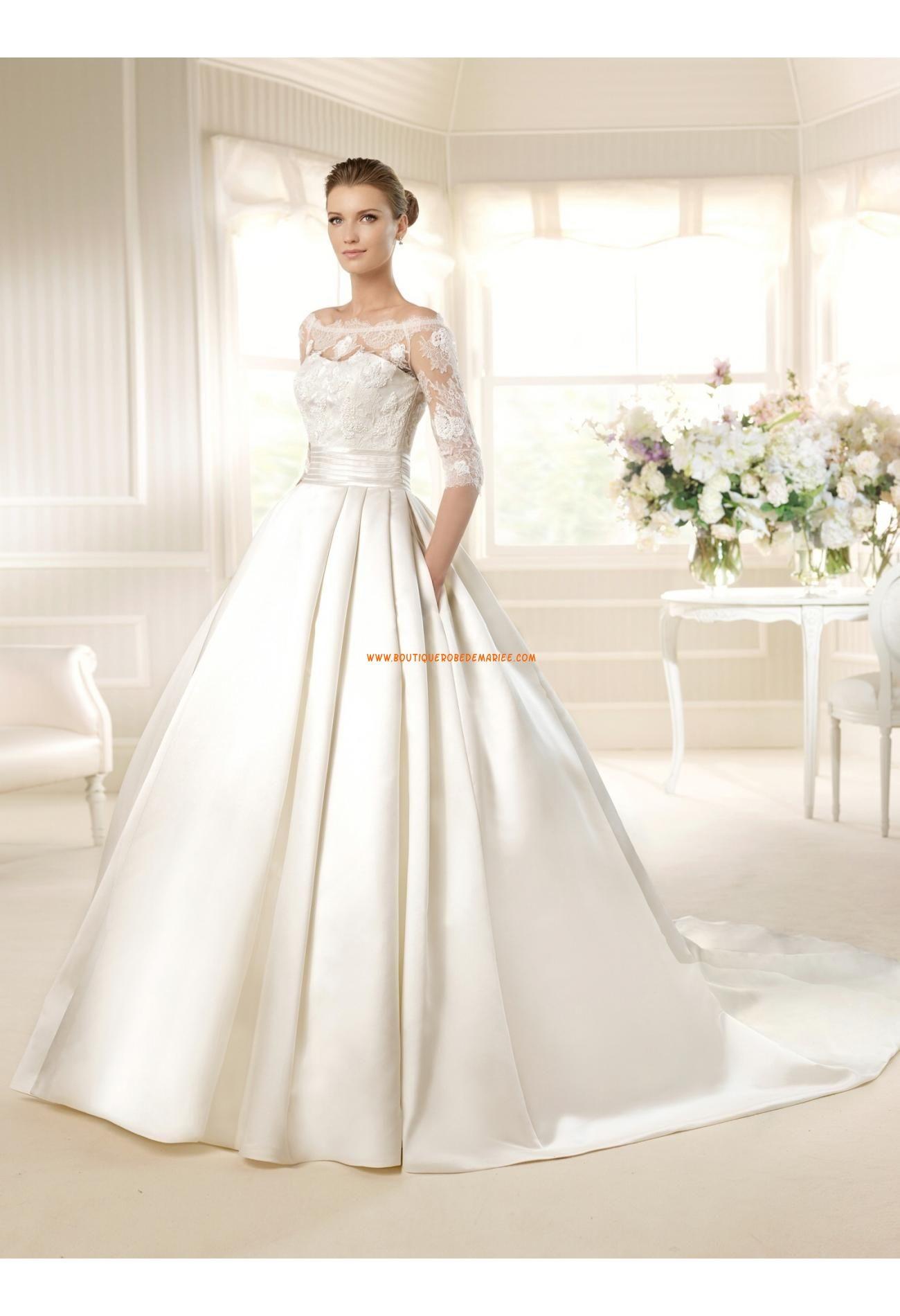 38285368f3b Robe de mariée princesse satin avec manches dentelle