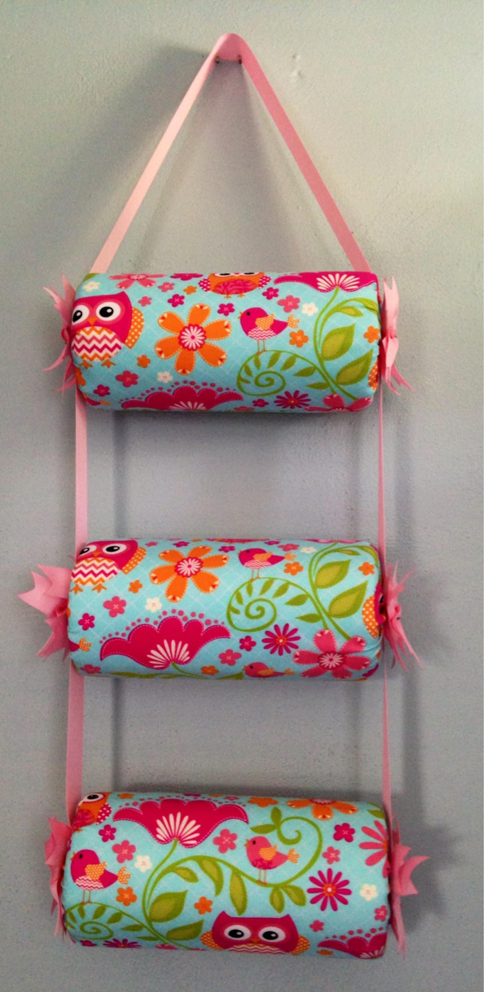 Headband Holder or head band organizer Pink & Light blue Owl Handmade Triple - 3 tiers