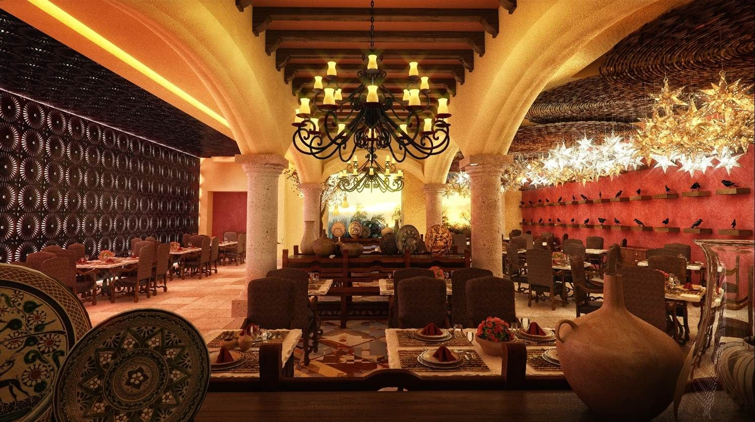 El Patio, shown in this rendering, boasts authentic Mexican dishes in a vibrant atmosphere.