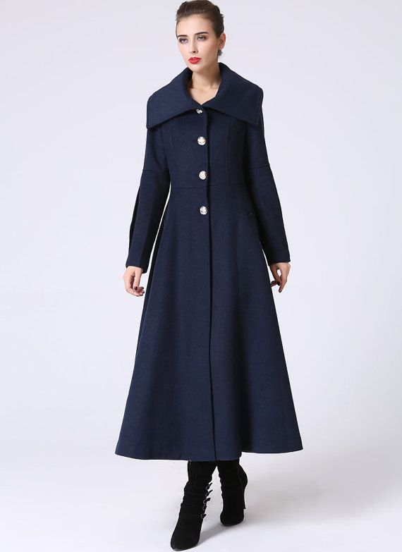 81a1249d345 Long Blue Winter Coat - Large Collar Mid-Calf Length Single Breasted Fully  Lined Coat (1054)