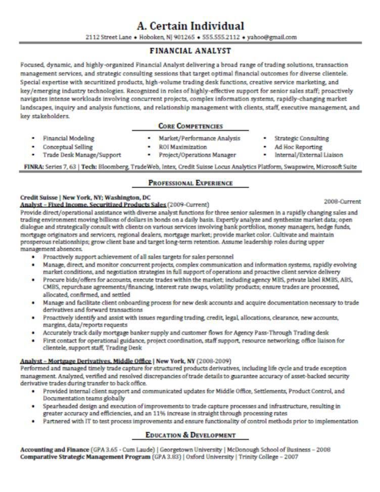 Resume For Financial Analyst Financial Analyst Resume Sample - example of business analyst resume