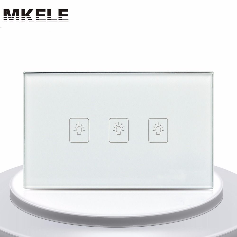 Touch Switch White Crystal Glass Panel Us Standard 3 Gang 1
